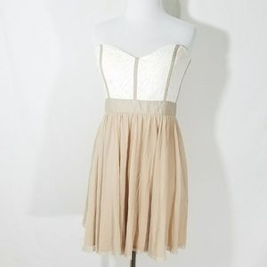 Asos Strapless Mini Dress Sweetheart Lace Layered